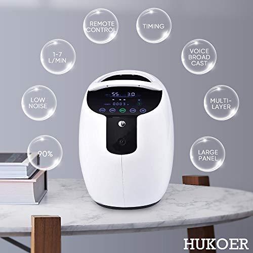 HUKOER Tragbare Sauerstoffkonzentrator Generator Luftreiniger 1-7L / min Einstellbare 90% Hohe Reinheit Home Trip Verwenden O2 Konzentrator Maschine